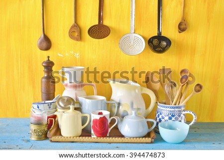 various vintage tableware and kitchen utensils - stock photo