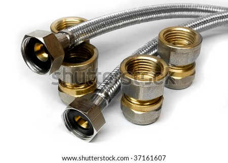 Various water pipes connections - stock photo