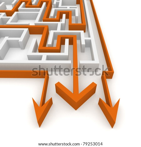 various ways of passing the maze - stock photo