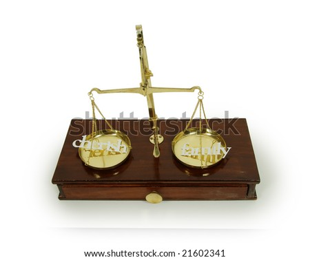 Various words describing family and cherish, Brass and wood Scale used to weigh out small items - stock photo