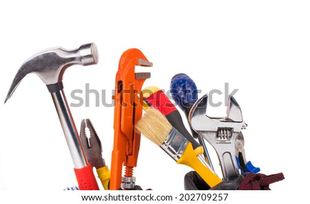 Various worker tools. Isolated on a white background - stock photo