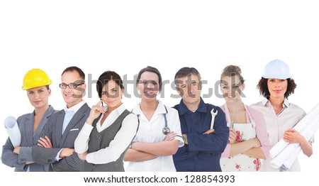 Various workers of industry on white background - stock photo