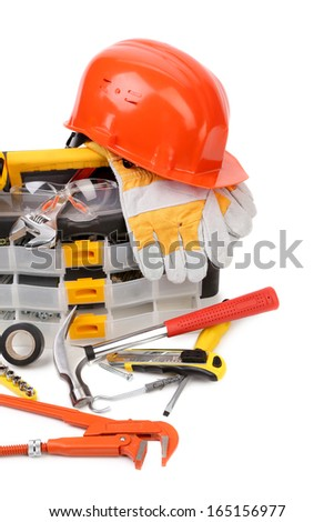 Various working equipment. Isolated on a white background. - stock photo