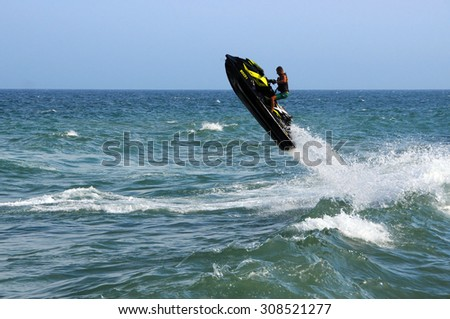 VARNA, BULGARIA - AUGUST 7, 2015: Waverunner in the waters of the Black Sea - stock photo