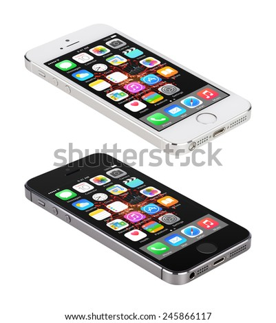 Varna, Bulgaria - December 08, 2013: Apple Space Gray and Silver iPhone 5S displaying iOS 8 mobile operating system lie on the surface, designed by Apple Inc. Isolated on white background. - stock photo