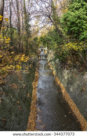 Varna, Bulgaria - 2015: Dirty waste water and household waste are merged into the open sea at the beach. Wastewater treatment plants. The environmental problem of environmental pollution. - stock photo