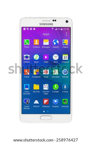 Varna, Bulgaria - February 27, 2015: Studio shot of a white Samsung Galaxy Note 4 smartphone, with 16 mP Camera, quad-core 2,7 GHz and 5.7 inch display, 1440x 2560 pixels resolution. - stock photo