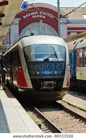 VARNA, BULGARIA - JUNE 24: The 11:15 diesel train to Dobritch on June 24, 2011 in Varna Train Station, Bulgaria. A threat to stop all fuel supplies was issued by LUKoil due to unpaid dues by BDZ. - stock photo
