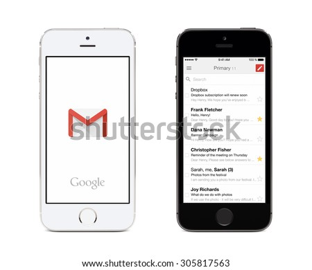 Varna, Bulgaria - May 26, 2015. Google Gmail app logo and Gmail inbox on the front view white and black Apple iPhones. Gmail is a free e-mail service provided by Google. Isolated on white background.  - stock photo
