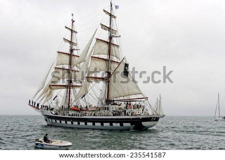 """VARNA, BULGARIA - MAY 03, 2014: Historical seas Tall Ship Regatta 2014. The Pakistan tall ship  """"Rah Naward""""  at the Parade of sail in Varna. - stock photo"""