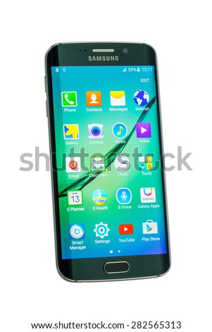 Varna, Bulgaria - May, 26, 2015: Studio shot of a green Samsung Galaxy S6 Edge smartphone, with 16 mP Camera, quad-core 2,7 GHz and 440 x 2560 pixels Display Resolution, with cliping path - stock photo