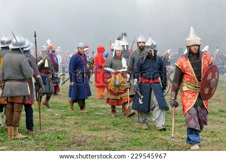VARNA, BULGARIA - NOVEMBER 08, 2014: Amateur actors enacting the various scenes from the last battle of King Warnenczyk III Warnenczyk against the Ottoman Turks 570 years ago near the town of Varna. - stock photo