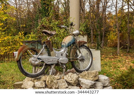 Varna, Bulgaria November 19, 2015: Unique Retro motorcycle exhibition Bulgarian collectors. Older bikes were very popular in the middle of the last century. Religious legendary tales - stock photo