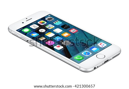 Varna, Bulgaria - October 25, 2015: Silver Apple iPhone 6S lies on the surface with iOS 9 mobile operating system on the screen. Isolated on white. - stock photo