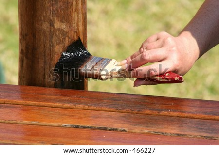 Varnish applied with a Brush - stock photo