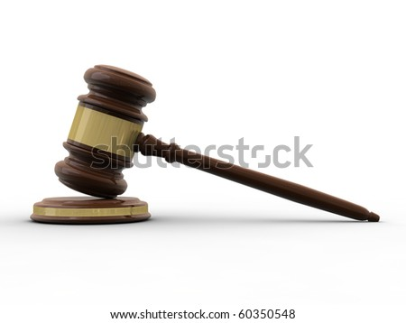 Varnished wooden gavel isolated on white - stock photo