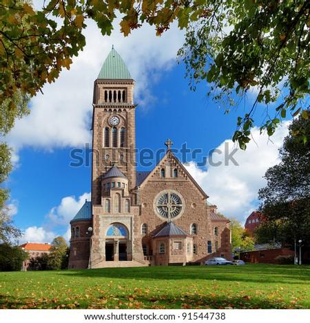 Vasa Church (Vasakyrkan) in Gothenburg in the autumn sunny day, Sweden - stock photo
