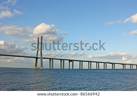 Vasco da Gama bridge, Lisbon, Portugal - stock photo