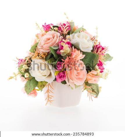Vase flower isolated on white background - stock photo