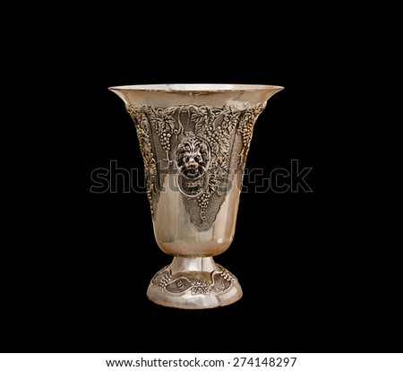 vase from silver on a black background - stock photo