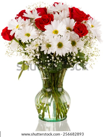 Vase Full of Roses and Daisy Flowers Isolated with Reflection - stock photo