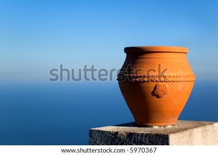 Vase overlooking Mediterranean sea - stock photo