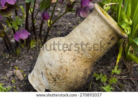 vase vintage landscape - stock photo