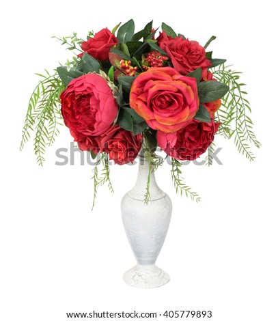 Vase with artificial flowers, isolated on white background - stock photo
