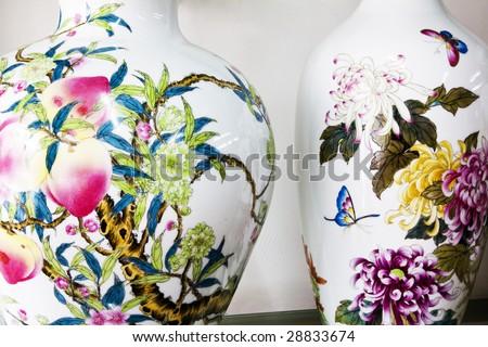 vase with beautiful painting - stock photo