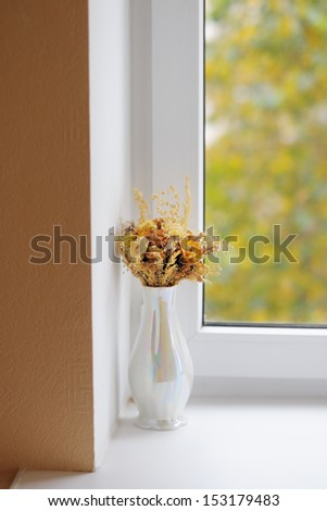 Vase with wild flowers  - stock photo