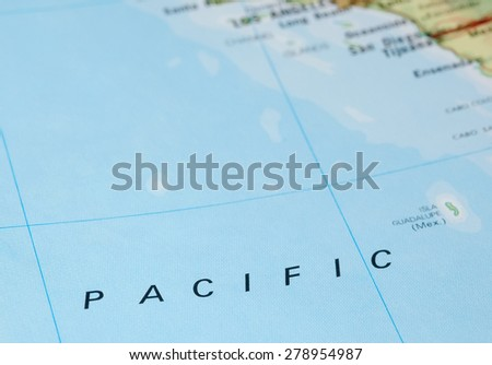 vast expanse of pacific ocean and american shoreline - stock photo