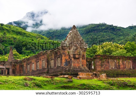 Vat Phou or Wat Phu is the UNESCO world heritage site in Champasak, Southern Laos - stock photo