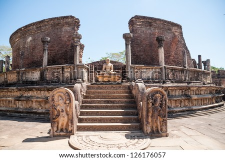 Vatadage in ancient city of Polonnaruwa, Sri Lanka. Vatadage is an ancient monument and it was built for the protection of stupa. - stock photo