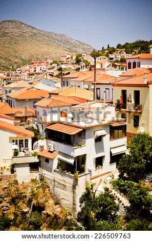 Vathi - main town of Samos island, Greece - stock photo