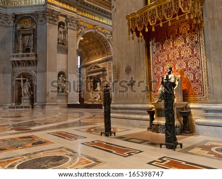 VATICAN - APRIL  24:  Indoor  St. Peter's Basilica on April 24, 2012 in Rome,  Italy. St. Peter's Basilica one of the largest Christian church in world. - stock photo