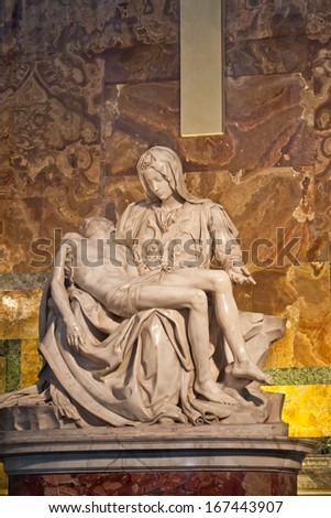 VATICAN - APRIL  24:  Michelangelo's Pieta in St. Peter's Basilica on April 24, 2012 in Rome,  Italy. St. Peter's Basilica one of the largest Christian church in world. - stock photo