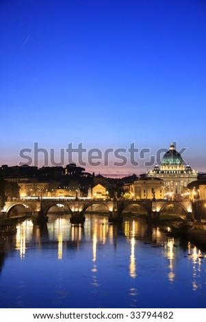 Vatican at dusk - stock photo