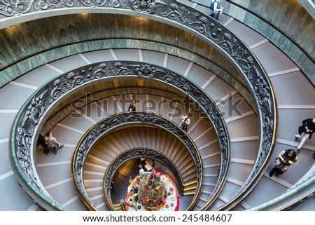 VATICAN - CIRCA JAN 2015: Spiral Stairs of the Vatican Museums in Vatican, Italy. - stock photo