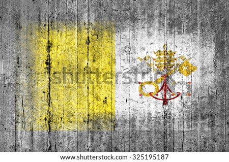 Vatican City flag painted on background texture gray concrete - stock photo