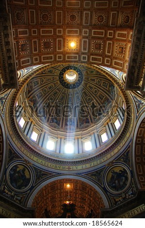 VATICAN CITY - JULY 2008: Dome of St Peters Basilica is illuminated by rays of light - stock photo