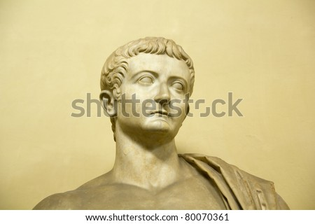 VATICAN CITY - MAR 18: Statue of Tiberius on Vatican Museum, Vatican city, on March 18, 2011. The work, anonymously, is II century AD. Tiberius Caesar in Rome from 14 AD to 37 AD. - stock photo