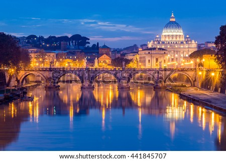 Vatican City, Rome, Italy, Beautiful Vibrant Night image Panorama of St. Peter's Basilica, Ponte Sant Angelo and Tiber River at Dusk in Summer. Reflection of The Papal Basilica of St. Peter - stock photo