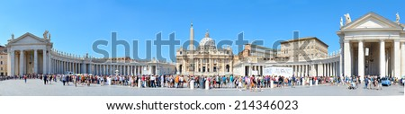 VATICAN CITY, VATICAN - AUGUST 08, 2014: Tourists waiting in queue to get to the Saint Peter's Basilica at St. Peter's Square. - stock photo