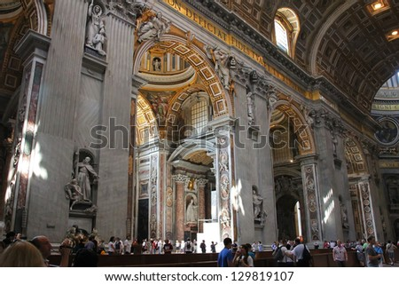 VATICAN CITY, VATICAN - FEBRUARY 11:Saint Peter's Basilica views. Benedicto XVI announces his resignation,that will be effective on February 28. On february 11, 2013  in Vatican City, Vatican. - stock photo