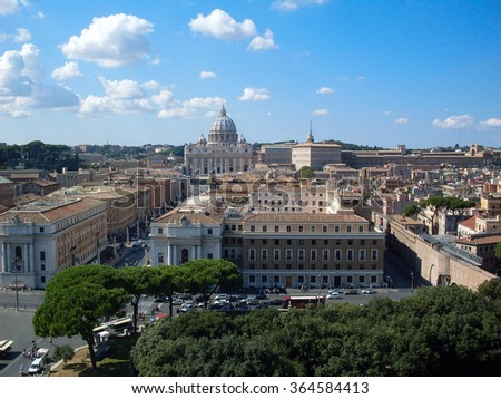 Vatican City, Vatican-September 28, 2008: Saint Peter's Square is among most popular pilgrimage sites for Roman Catholics. - stock photo