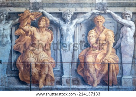 VATICAN - MAY 14, 2014: 16th century fresco in the Room of the Fire in the Borgo, one of the rooms of Raphael in the Vatican Museum. - stock photo