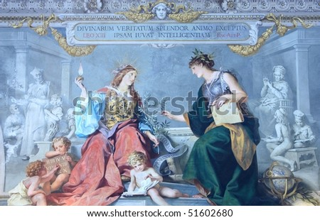 Vatican Museums - Gallery of the Geographical Maps, ceiling - stock photo
