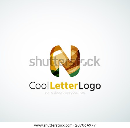 Vector alphabet letter logo. Created with transparent colorful overlapping geometric shapes, waves and flowing elements - stock photo