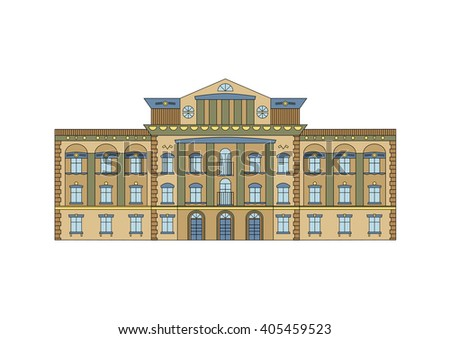 Vector Building Facade. Historical mansion viewed from front elevation on white background. - stock photo