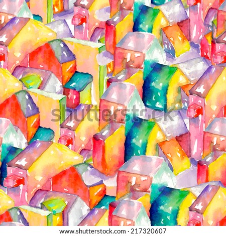 Vector colorful watercolor seamless pattern with houses. Can be used for web pages, identity style, printing, invitations, cards, textile etc. - stock photo